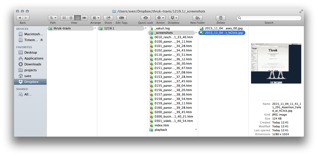 Travis Artifacts in Finder